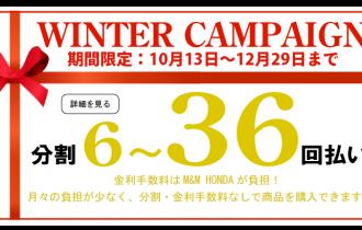 秋冬季期間限定36回までクレジット払いで金利手数料0円セール開催!